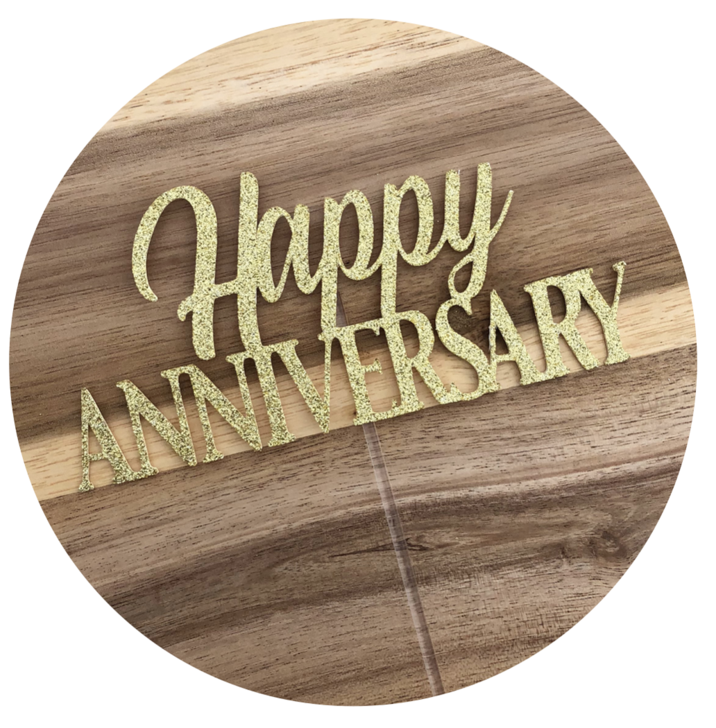 Happy Anniversary Glitter Cake Topper Personalised Custom