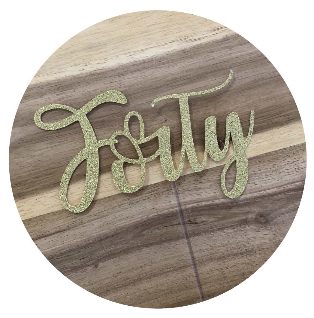 Forty 40th Glitter Cake Topper Birthday Personalised Custom