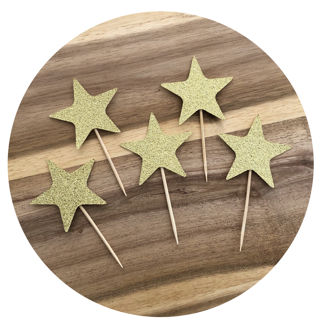 Set of 5 Stars Glitter Cake Cupcake Toppers Birthday Party Wedding Engagement