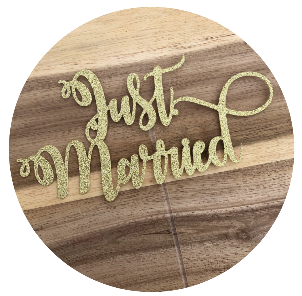Just Married Glitter Cake Topper Wedding Engagement Personalised Custom