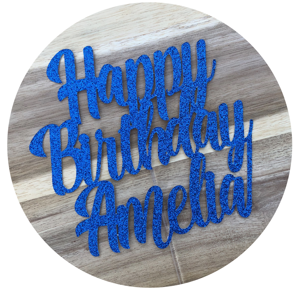 CUSTOM Personalised Happy Birthday Name Cake Topper #2