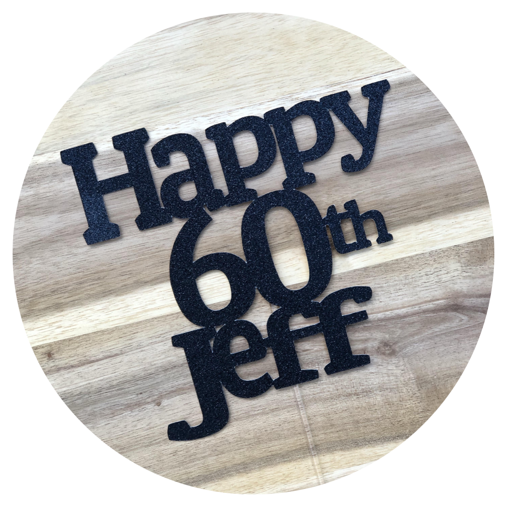CUSTOM Personalised Happy Age Name Cake Topper #3